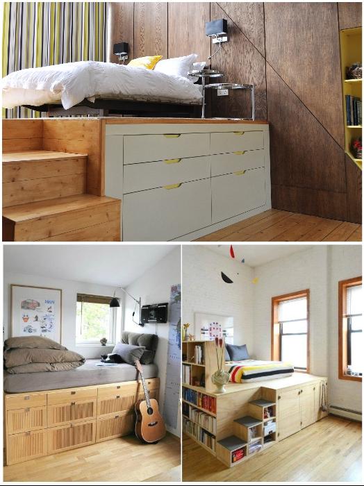 Функциональность кровати возрастает если ее поместить на подиум.   Фото: Stroy-podskazka.ru/ pinterest.com.