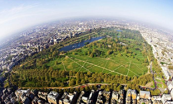 Вид сверху на Гайд-парк (Лондон).