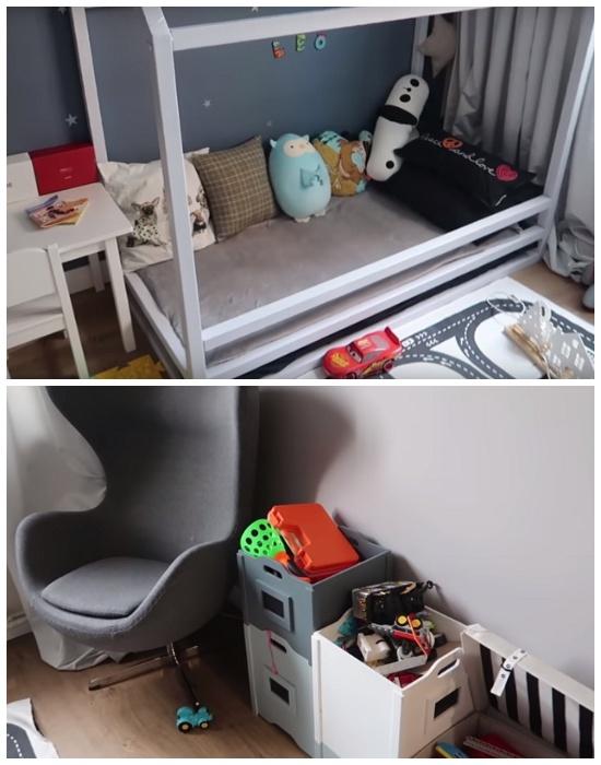 После переноса кухни в коридор, вместо нее удалось оформить весьма уютную детскую комнату.