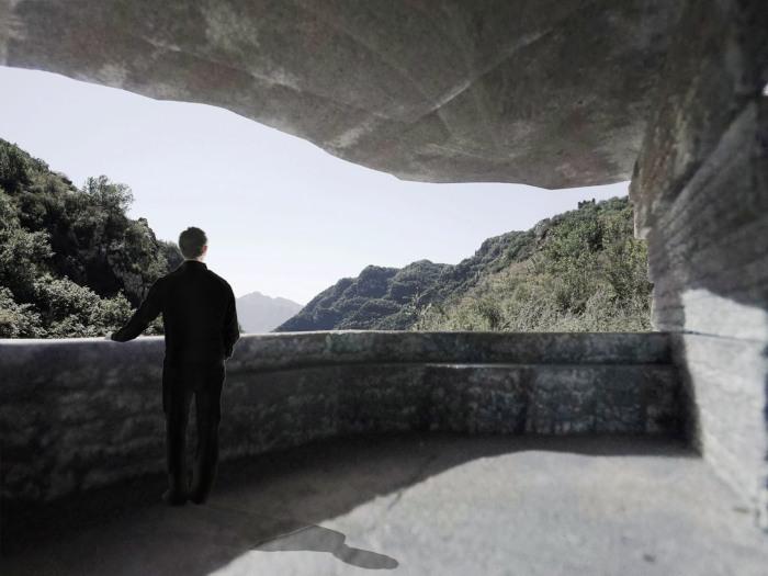 Открытые террасы позволят посетителям любоваться живописной природой долины и горной гряды (визуализация «Chapel of Sound», Китай). | Фото: dezeen.com.