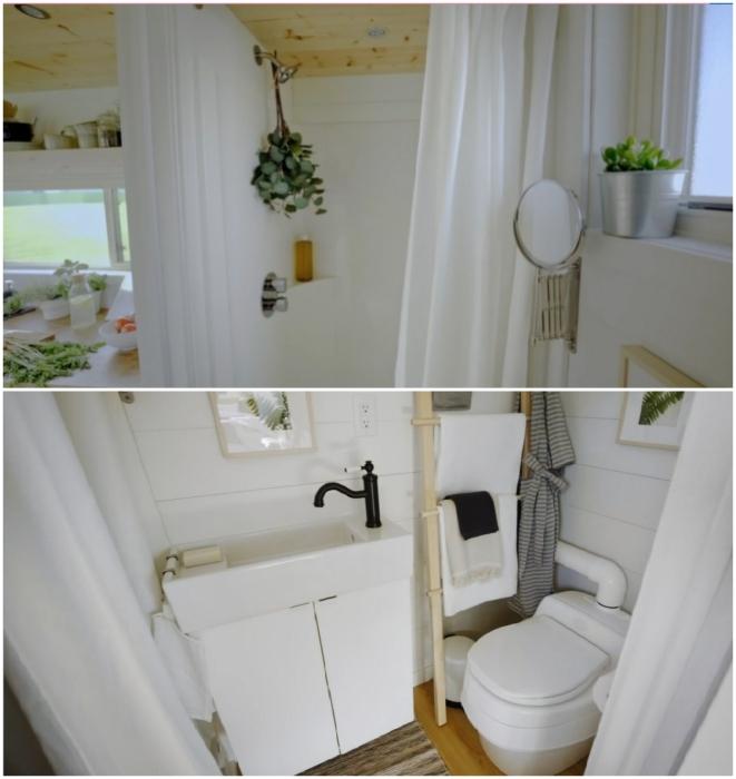 Несмотря на крошечные габариты в кемпере удалось оформить полноценную ванную комнату (Ikea Tiny Home).