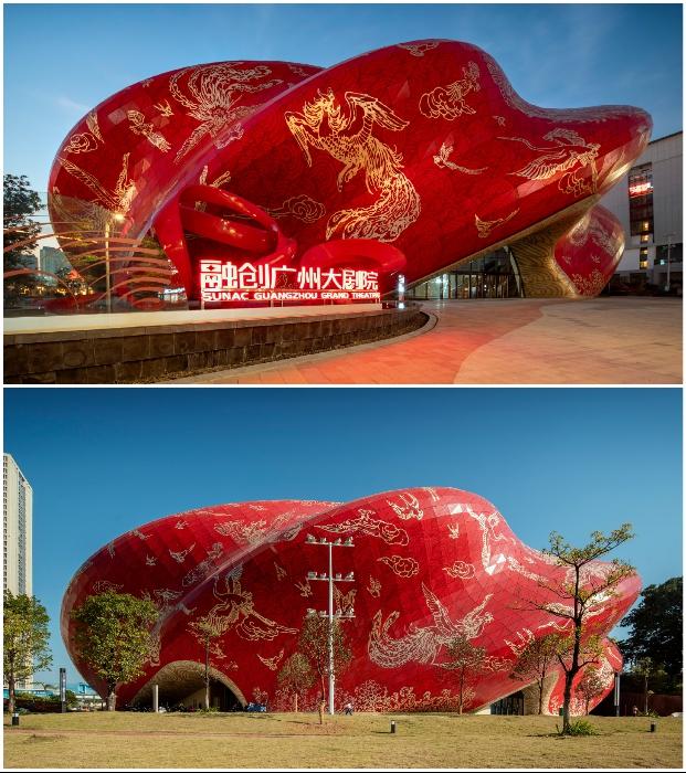 Складки струящего шелка: в Китае завершилось строительство театра с фантастическим фасадом (Sunac Guangzhou Grand Theatre).