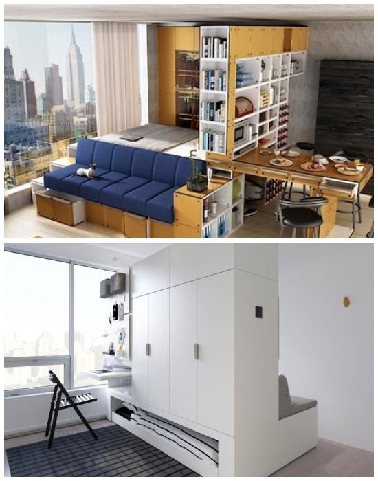 Многофункциональный мебельный модуль-трансформер – современное решение для малогабаритного жилья. | Фото: vzavtra.net/ planium.com.ua.