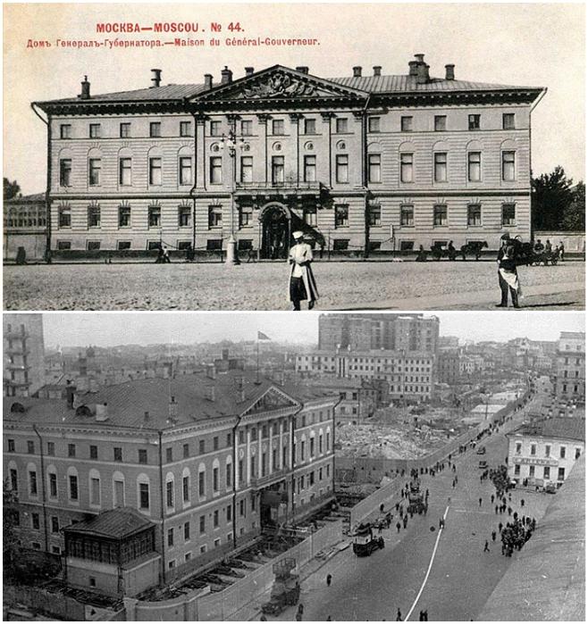 Здание Моссовета на Тверской перемещали вместе с архивом в подвале и высокопоставленными чиновниками (Москва, Россия).