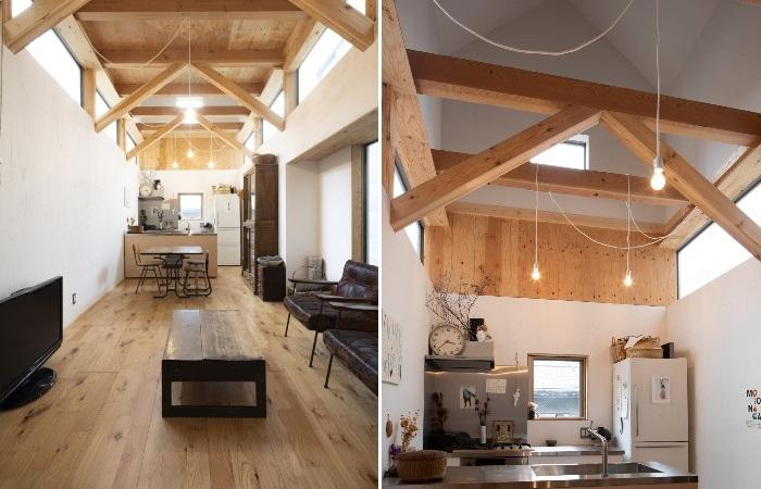 На втором этаже удалось оформить компактную кухню, объединенную со столовой и гостиной. | Фото: designboom.com