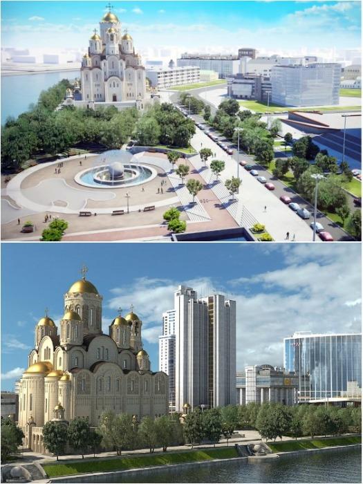 Так должен выглядеть храм, который пытаются построить в Екатеринбурге («Храм Святой Екатерины»). | Фото: oblgazeta.ru.