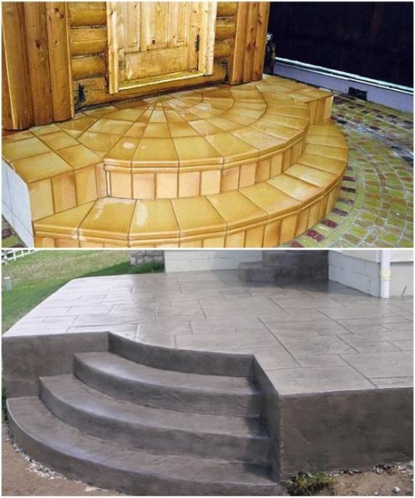Крыльцо из бетона можно украсить напольной плиткой или декоративным камнем. | Фото: domiktop.ru.