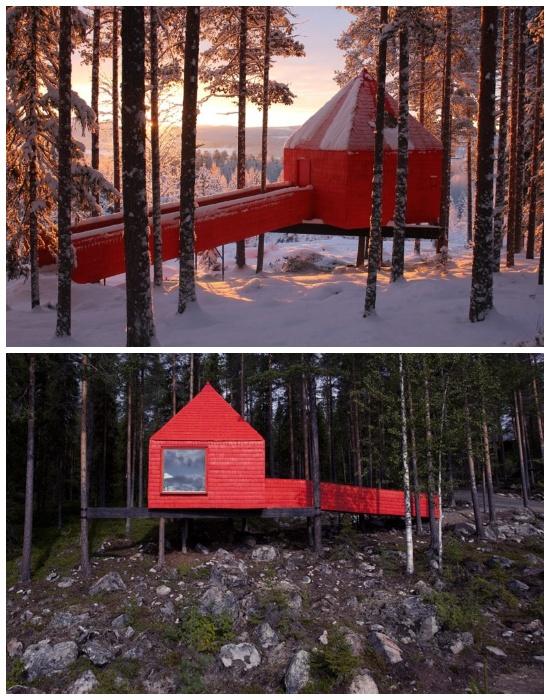 Экспрессивный фасад отельного номера выделяется ярким пятном на фоне лесного ландшафта (отель Treehotel, архитектурный проект студии SandellSandberg). | Фото: cpykami.ru.