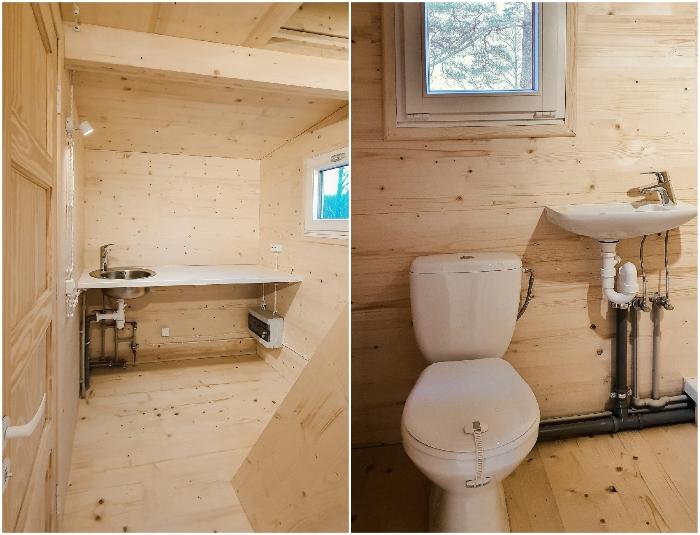 В базовой комплектации распаковывающийся домик имеет все необходимое сантехническое оборудование и электроразводку (Brette Haus).