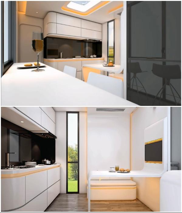 Зона гостиной совмещена и с кухней, и с обеденным уголком («Cube Two»). | Фото: boredpanda.com.