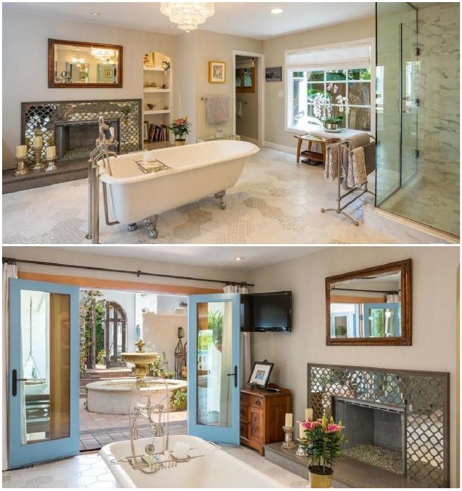 Интерьер одной из ванных комнат, имеющих выход во внутренний дворик («Дом орхидей», Малибу). | Фото: remoskop.ru.