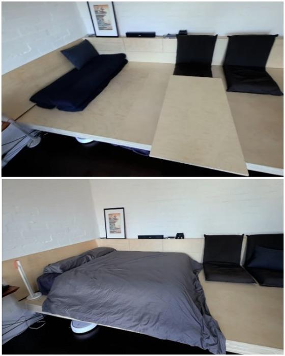 Платформа служит основанием и для кровати и для организации гостиной. | Фото: youtube.com.