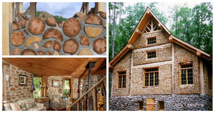 Дом, созданный по технологии Cordwood из обычных поленьев.