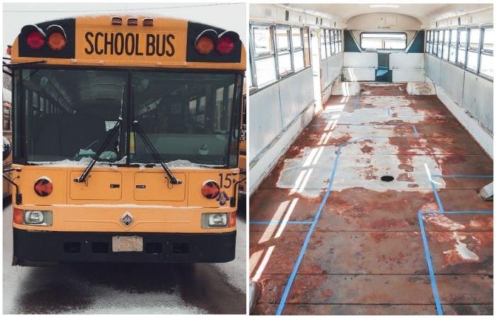 Вот такой списанный школьный автобус приобрели супруги. | Фото: instagram.com/ sincewewokeup.