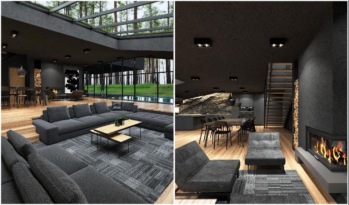 Темная палитра является главной концепцией оформления загородного особняка Black Villa.
