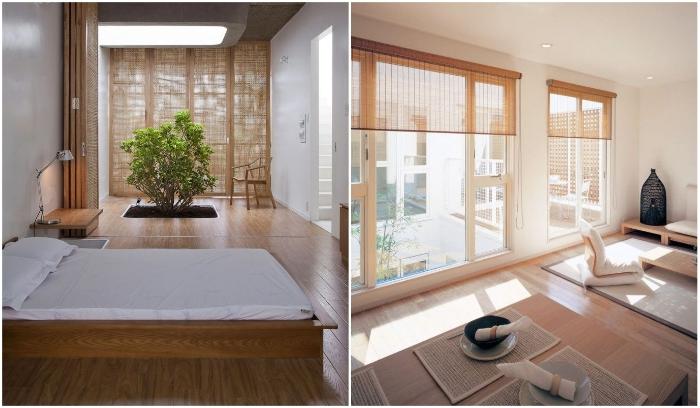 Лаконичные экранные шторы помогут создать стильный и ненавязчивый интерьер. | Фото: digsdigs.com/ hapymodern.ru.