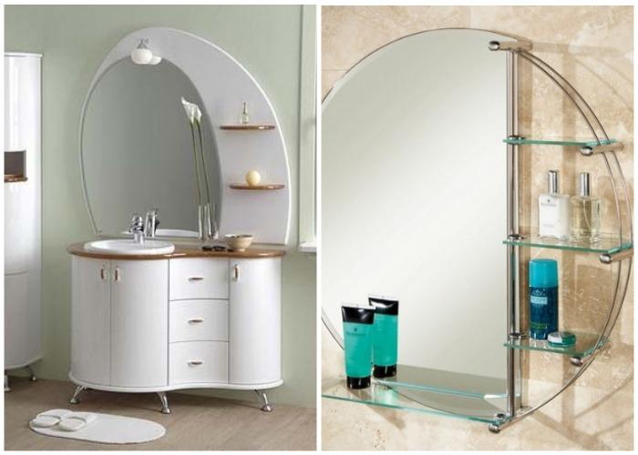 Зеркало для ванной с небольшими полками сбоку.