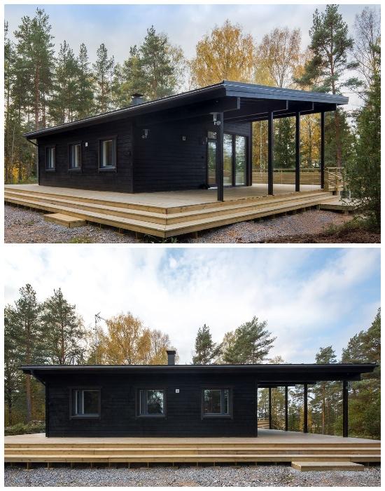 Загородный домик Jurmo создали на деревянном постаменте, который позволил организовать террасы со всех сторон.