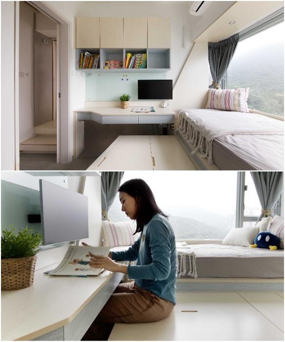 В детской комнате поместилась кровать и многофункциональный стеллаж (Smart Zendo). | Фото: design-milk.com/ © Sim-Plex.