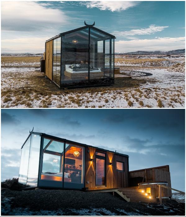 Отдых под звездным небом, не вставая с кровати: в Исландии появился отель с прозрачными номерами. | Фото: panoramaglasslodge.com/ mymodernmet.com.