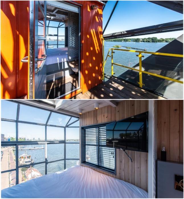 Кабина крановщика переоборудована еще под одну спальню (Yays Crane Apartment, Амстердам). | Фото: interestingengineering.com.