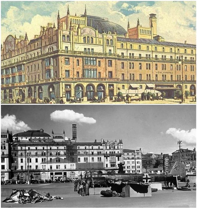 Гостиница «Метрополь», как одно из самых ярких сооружений, была замаскирована под отдельные фабричные здания. | Фото: wwii.space.