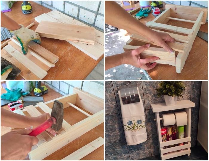 Если не выбрасывать обрезки доски, то самостоятельно можно сделать многофункциональную полку. | Фото: youtube.com/ © Шебби-Шик.