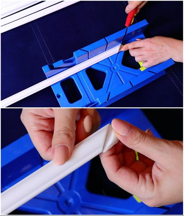 Чтобы срез угла молдинга получался идеально ровным и правильным, нужно приобрести стусло и канцелярский нож. | Фото: youtube.com/ © Fancy smth.