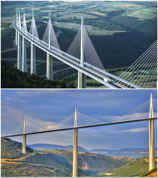Виадук Мийо, проходящий через долину реки Тарн близ Мийо на юге Франции, является самым высоким мостом в мире.