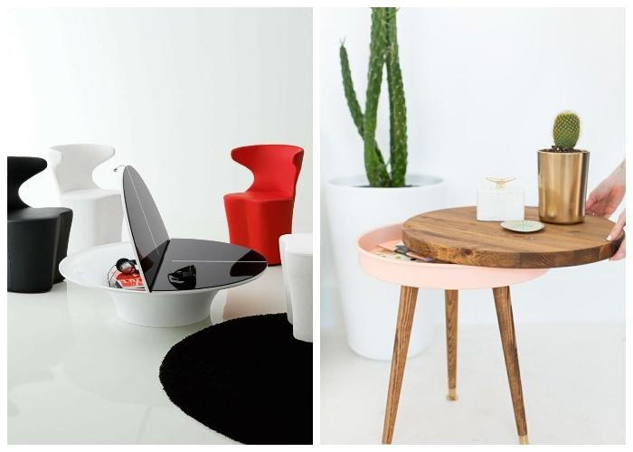 Стильные крошечные журнальные столы незаметно могут хранить нужные и особо ценные вещи. | Фото: housesdesign.ru.