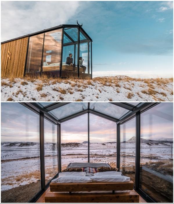 Стеклянный фасад позволяет беспрепятственно любоваться окружающей природой в любое время года. | Фото: mymodernmet.com.