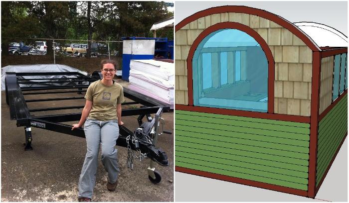Чтобы иметь крышу над головой, Лина приобрела автомобильную раму прицепа и сделала проект будущего дома. | Фото: facebook.com/ © Lina Menard.