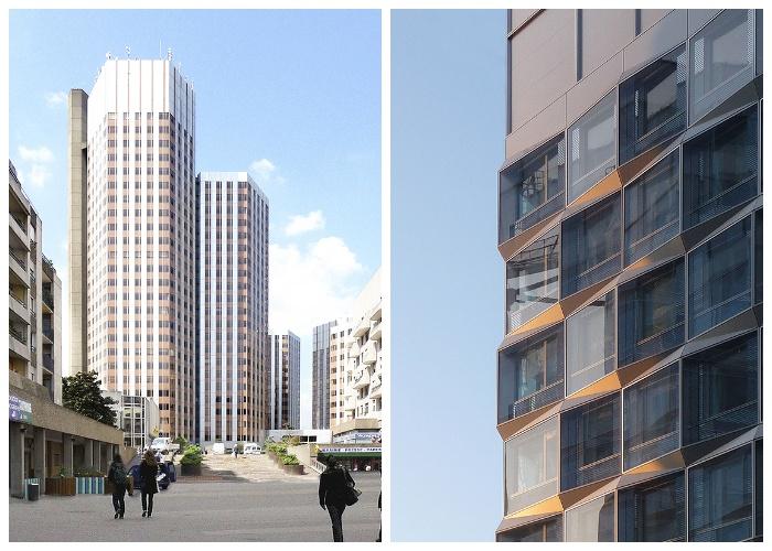 Одна из башен комплекса имеет шестигранный фасад (Офисный центр Pont de Sèvres Towers). | Фото: interior.ru.