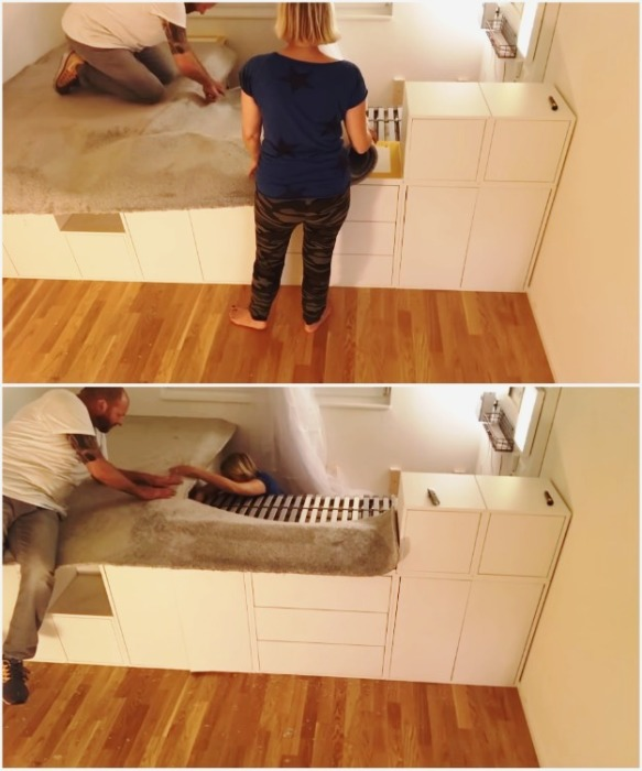 Подиум можно покрыть ковролином, который скроет все швы и сделает зону отдыха более уютной. | Фото: youtube.com/ DIY Floyd.