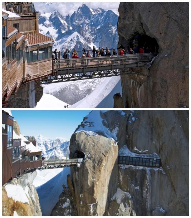 Мост Aiguille du Midi проходит через тоннель в одной из скал. | Фото: topworth.blogspot.com
