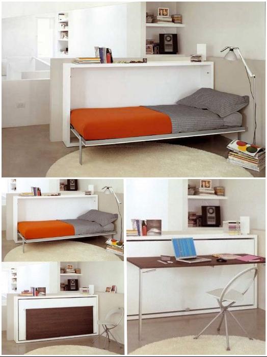 Узкая тумба-трансформер может заменить и спальню, и кабинет. | Фото: okoyogurt.com/ bazazakonov.ru.