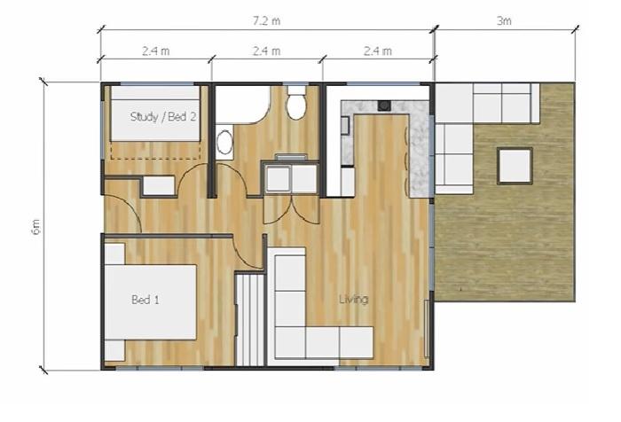 План-чертеж контейнерного дома, созданного Брендой Келли. © Living Big In A Tiny House.