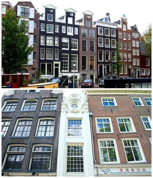 Экстремально узкие дома Амстердама, построенные в XVII веке (Нидерланды).