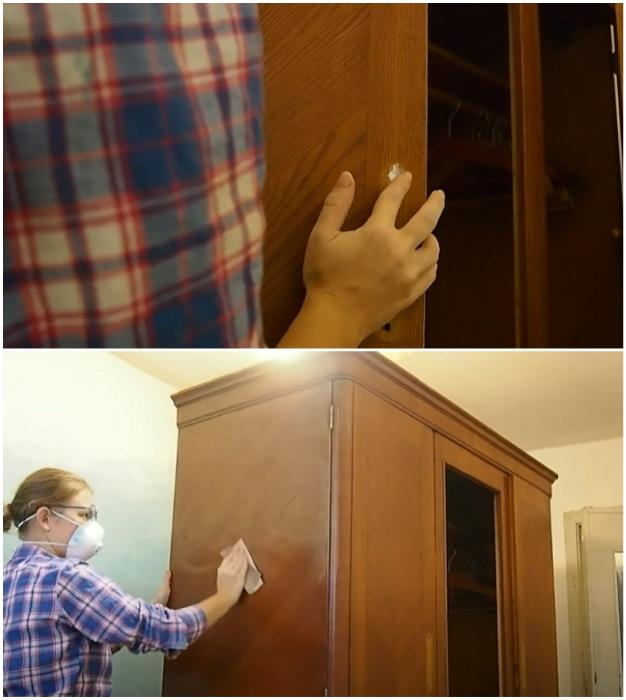 Зашпаклевать все неровности и пустоты, а затем зашкурить поверхности.