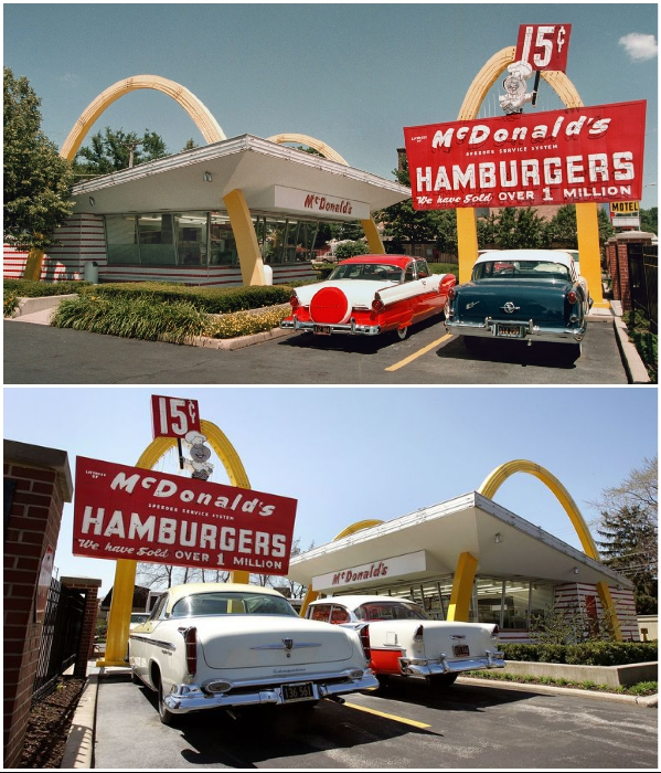 Возле точной копии первого ресторана McDonald',s до 2018 г. были припаркованы автомобили тех времен, а само заведение выступало в роли музея-закусочной. | Фото: nationalpost.com.