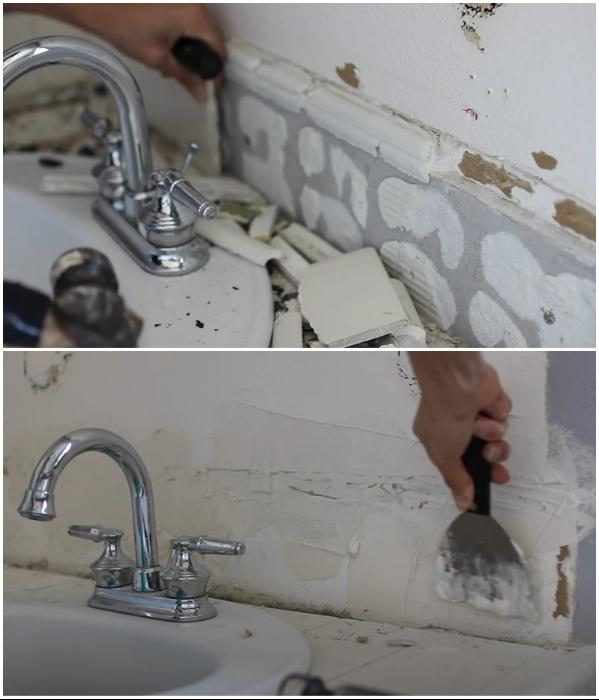 Если кафель в некоторых местах уже не актуален, его следует оббить и зашпаклевать повреждения стены. | Фото: youtube.com/ © Living to DIY with Rachel Metz.
