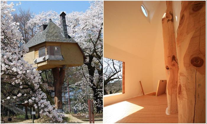 Минималистский интерьер компенсируется колоритным внешним видом и месторасположением («Tetsu», Япония). | Фото: cacadoresdelendas.com.br.