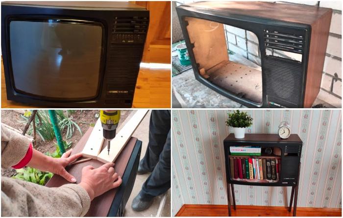 Не стоит выбрасывать старый телевизор, он после трансформации еще пригодится в хозяйстве. | Фото: youtube.com/ © Шебби-Шик. youtube.com/ © Шебби-Шик.