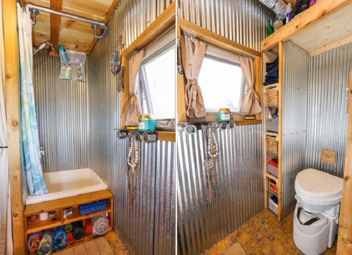 Душевая и туалет в крошечном доме на колесах (Tiny House Giant). | Фото: tinyhousegiantjourney.tumblr.com.