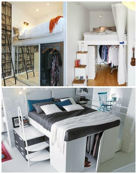 С помощью подиума можно создать полноценную спальню или гардеробную.