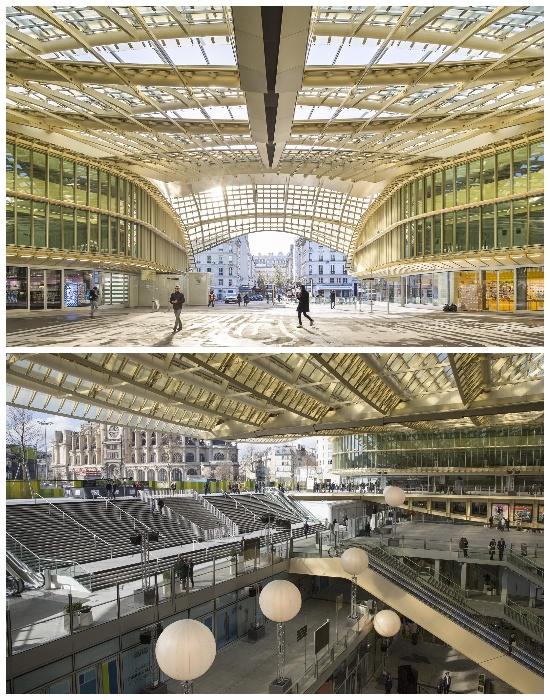 Бежевый цвет стекла обеспечивает солнечным эффектом все внутреннее пространство комплекса (Торговый центр Ле-Аль, Les Halles). | Фото: hotel-relais-des-halles.com.