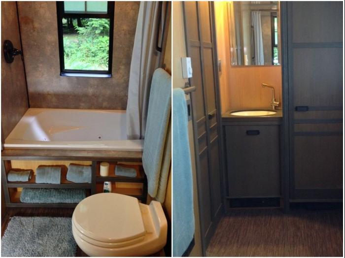 Джакузи, унитаз, рукомойник, шкаф для моющих средств и банных принадлежностей поместились в ванной комнате. | Фото: kaprizulka.mediasole.ru/ liveinternet.ru, © Chris Heininge.