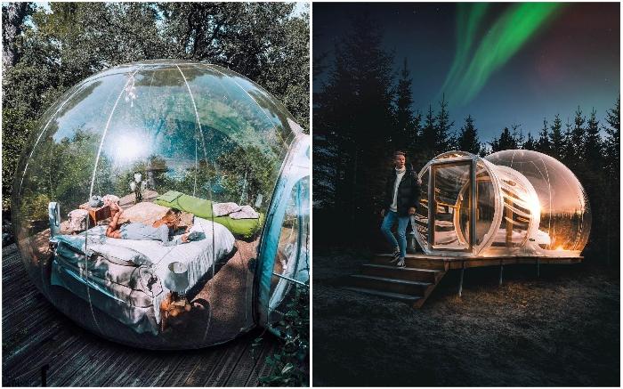 Несмотря на то, что гости отеля лишний раз не покидают свой номер, но в ванную или в кафе отправиться придется («Bubble Hotel», Исландия). | Фото: otrada-tour.com.ua/ uk.theplanetsworld.com.