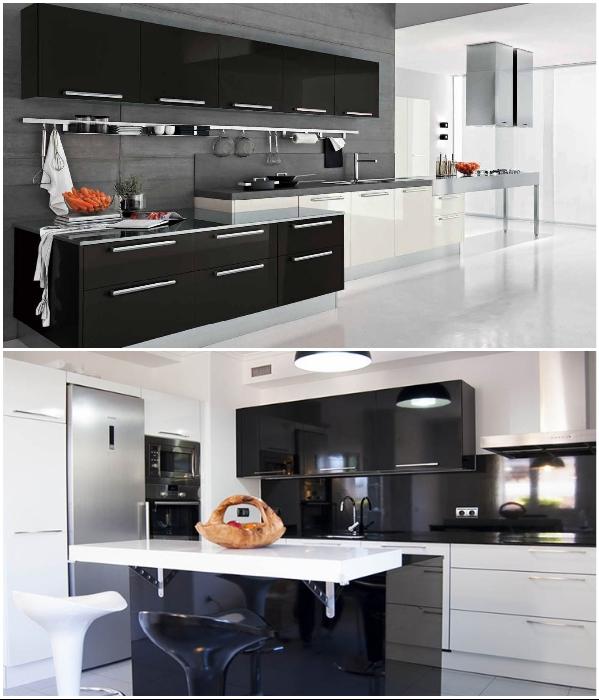 Оформление кухни в стиле хай-тек требует установки особенной фурнитуры. | Фото: flash-nika-mebel.ua/ kuhni-nsk.ru.