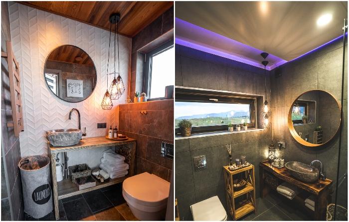 Интерьер ванных комнат в стеклянных номерах. | Фото: panoramaglasslodge.com.